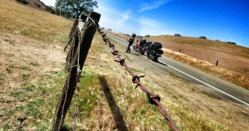 barbed wire fence motorcycles