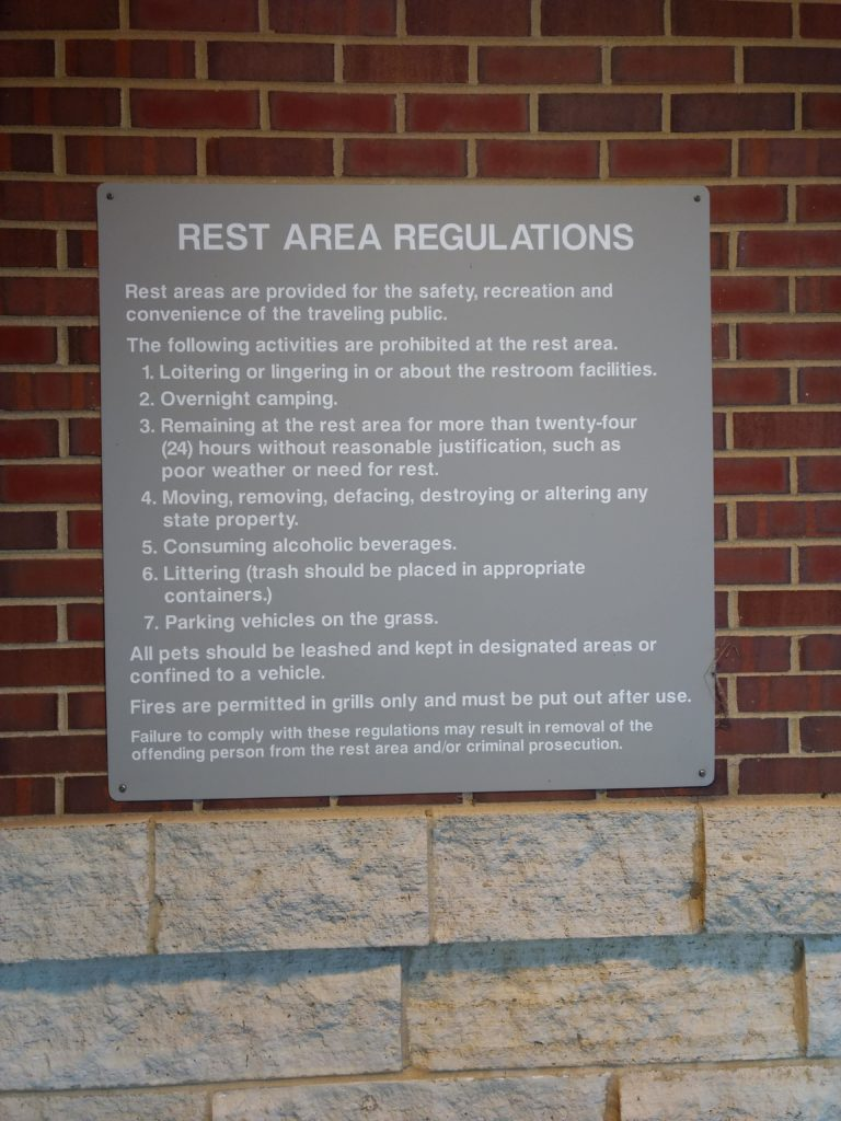 rest area regulations, dows, iowa, i-35
