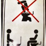 wrong way to use a toilet